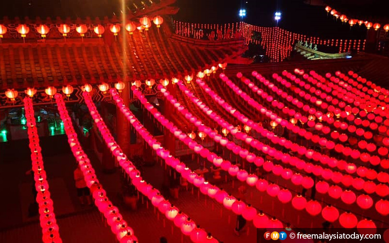 Red lanterns fill a temple in Kuala Lumpur, to symbolise a red sea of joy and good fortune.