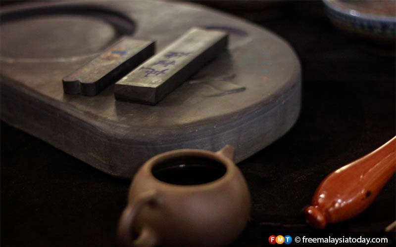 Tools used in traditional Chinese calligraphy. Chinese calligraphers use four tools – brush, ink, paper, and ink stone, collectively known as The Four Treasures of the Study.