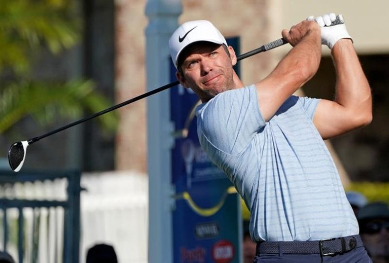 Paul Casey plays his shot from the 16th tee during the second round of the Valspar Championship golf tournament at Innisbrook Resort