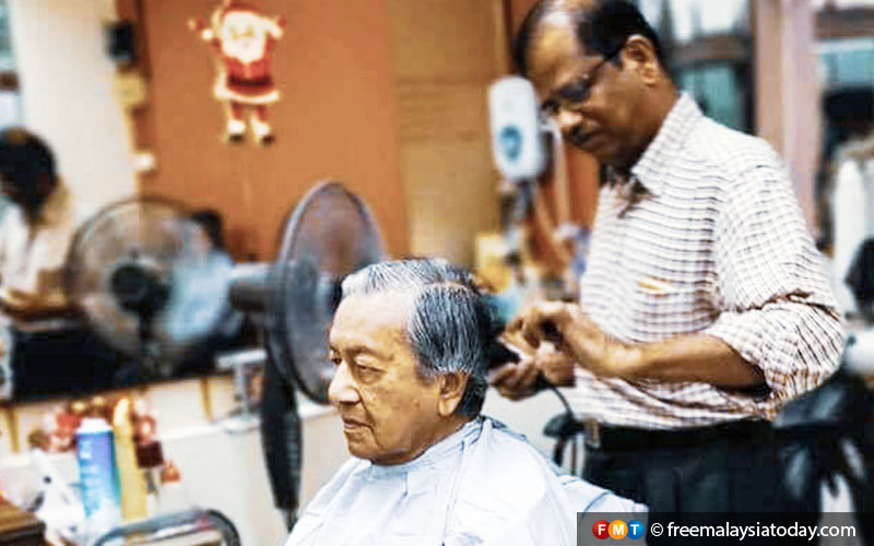 Among Mohan's client of 24 years is Prime Minister Dr Mahathir Mohamad. He says Mahathir's hair is parted on the left and he always asks for a layered cut.