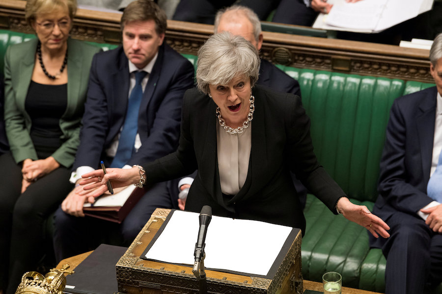 Britain's Prime Minister Theresa May speaks during a debate on her Brexit 'plan B' in Parliament in London