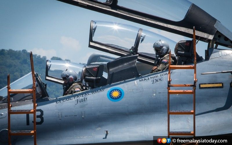RMAF pilots prepare to exit a Sukhoi fighter jet. Russia is promoting its Sukhoi Su-57 PAK FA fifth-generation fighter aircraft at LIMA'19.