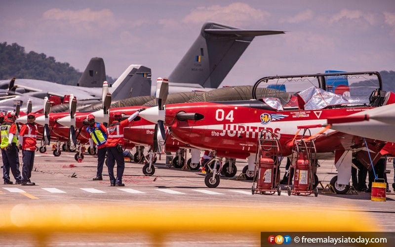 The Indonesian Air Force's Jupiters acrobatic team gets ready for take-off.