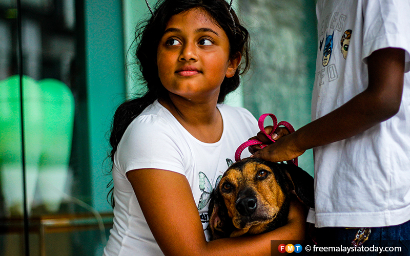 'Let's take him home,' says the look on 9-year-old Daarnya's face.
