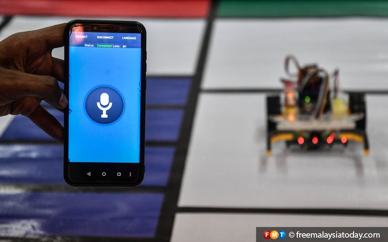 Laveneishyan's robot is programmed to receive voice commands through a mobile application.