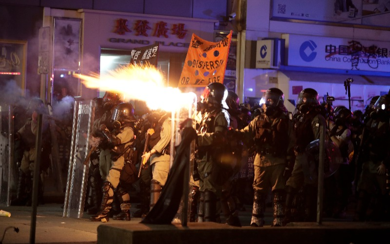 Hong Kong police fire tear gas in latest round of protests