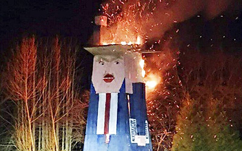 Statue mocking Donald Trump torched in Slovenia