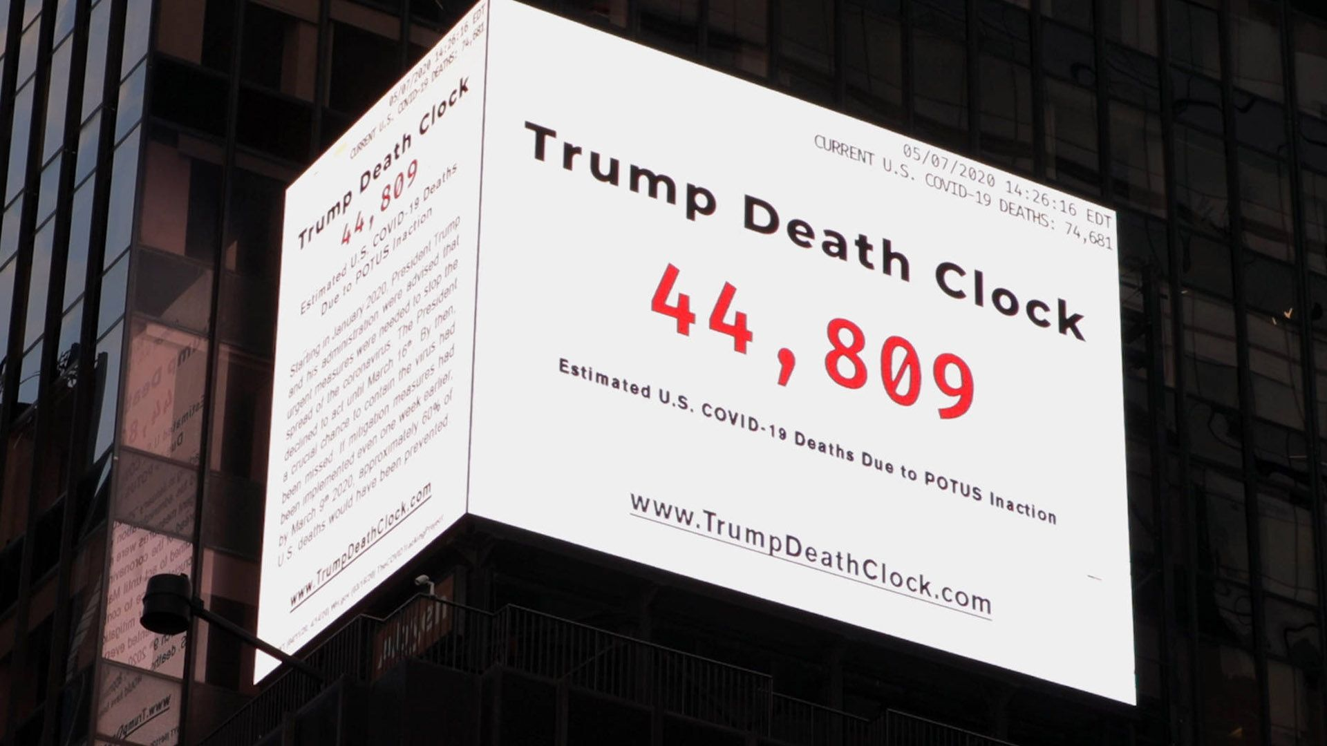 'Trump Death Clock' in New York counts preventable US Covid-19 deaths