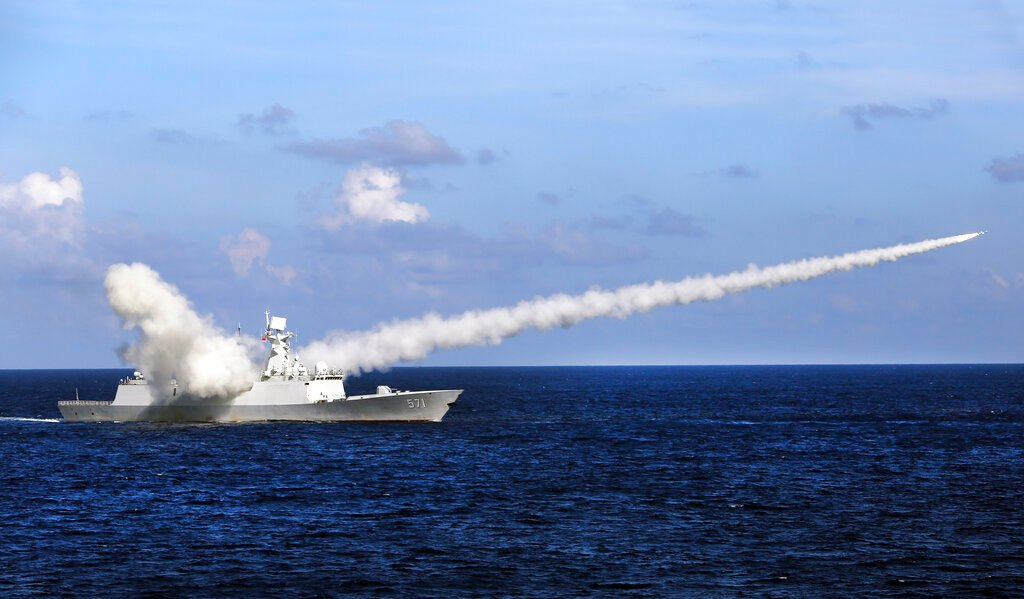 A Chinese frigate launches an anti-ship missile during a military exercise near the Paracel Islands in 2016