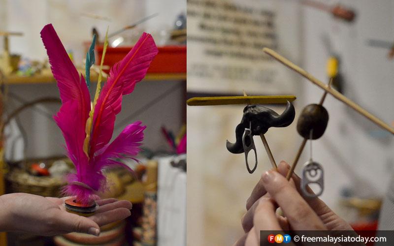 Sepak bulu ayam and rubber seed propeller pic