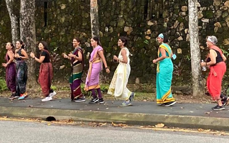 Women decked in sarees run 5km for charity
