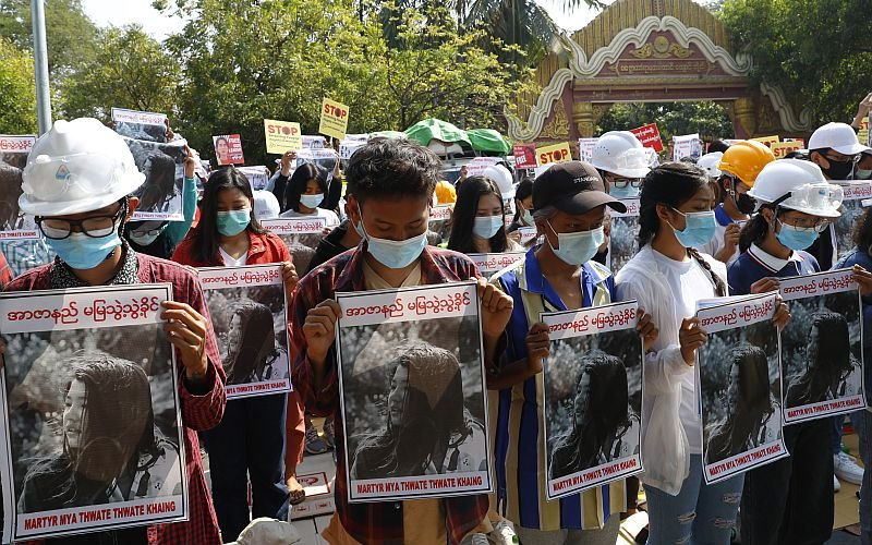 20-year-old protester shot in head in Myanmar dies in hospital class=