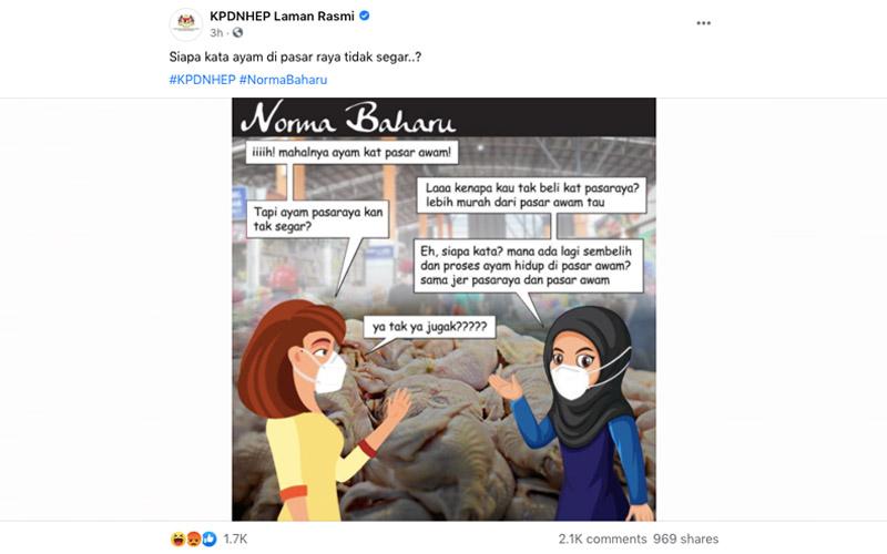 Kempen harga ayam : Setelah teruk 'dibelasah' netizen, KPDNHEP padam posting di FB
